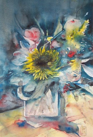 Blumen in Glasvase Aquarell  1999  Privatbesitz