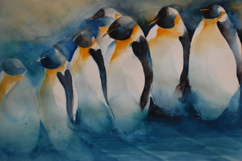 Pinguine  Aquarell 38-56   2010